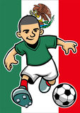 Mexico soccer player with flag background Stock Photo