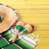 Mexico sombrero cinco de mayo fiesta wood background. Mexico sombrero cinco de mayo wood background Stock Photo