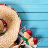 Mexico sombrero cinco de mayo wood background square. Mexico sombrero cinco de mayo wood background Stock Images