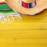 Mexico sombrero cinco de mayo wood background square. Mexico sombrero cinco de mayo wood background Stock Photo