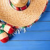 Mexico sombrero cinco de mayo wood background square format. Mexico sombrero cinco de mayo wood background Royalty Free Stock Images