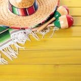 Mexico sombrero cinco de mayo wood background square format. Mexico sombrero cinco de mayo wood background Stock Images