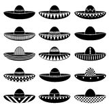 Mexico sombrero hat variations icons set Stock Photo