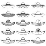Mexico sombrero hat variations outline icons set eps10 Stock Photos