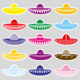Mexico sombrero hat variations stickers set Royalty Free Stock Photos