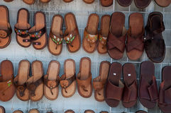 Mexico Souvenirs. Shoes on sale in a shop in tulum mexico Royalty Free Stock Photos