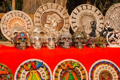 Mexico. Souvenirs for tourists in the market. Image of the Mayan pyramid.  Stock Photo