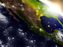 Mexico from space during sunrise Stock Photos