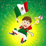 Mexico Sport Fan with Flag and Horn Royalty Free Stock Photos