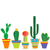 Mexico style pots with cactus flowers. On white background vector illustration