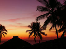 Mexico sunset. Sunset over the mexican beach. Palm silhouettes and hut roof tops royalty free stock photography