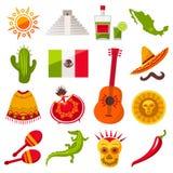 Mexico symbolsuppsättning Vektor Illustrationer