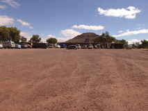 Mexico. Teotihuacan pyramids. Car parking and view at Pyramid of the Sun Stock Image