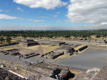 Mexico. Teotihuacan pyramids. View from Piramid of Sun to Avenue of the Dead Stock Photo