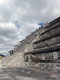 Mexico. Teotihuacan pyramids. View from Piramid of Sun. Tourists Royalty Free Stock Photography