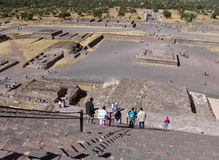 Mexico. Teotihuacan pyramids. View from Piramid of Sun. Tourists Royalty Free Stock Photo
