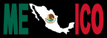 Mexico text with map on flag. Mexico text with map on Mexican flag illustration Royalty Free Stock Photo
