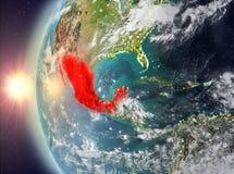 Mexico tijdens zonsondergang van ruimte Royalty-vrije Stock Fotografie