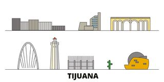 Mexico, Tijuana flat landmarks vector illustration. Mexico, Tijuana line city with famous travel sights, skyline, design. Mexico, Tijuana flat landmarks vector royalty free illustration