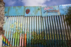 Mexico - Tijuana - The wall of shame. The firs wall near Mexico Stock Image