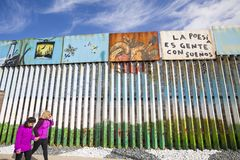 Mexico - Tijuana - The wall of shame. The firs wall near Mexico Royalty Free Stock Photography