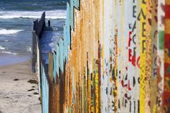 Mexico - Tijuana - The wall of shame. The firs wall near Mexico Stock Images