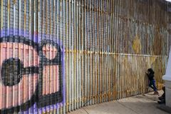Mexico - Tijuana - The wall of shame. Daily life near the firs wall of Mexico Stock Photography