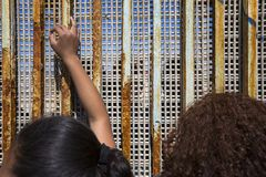 Mexico - Tijuana - The wall of shame. Relatives meets separated from the wall Royalty Free Stock Photos