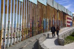 Mexico - Tijuana - The wall of shame. Relatives meets separated from the wall Royalty Free Stock Photo