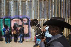 Mexico - Tijuana - The wall of shame. Relatives meets separated from the wall Royalty Free Stock Image