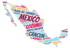 Mexico top travel destinations word cloud Royalty Free Stock Photo