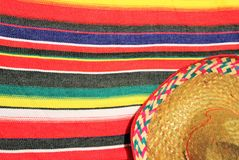 Mexico traditional cinco de mayo rug poncho fiesta with stripes Stock Image