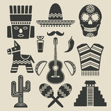 Mexico travel icons set Royalty Free Stock Photos