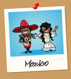 Mexico travel polaroid people royalty free illustration