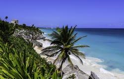 Mexico Tulum God of Winds Temple Caribbean sea. Coast summer holidays travel historical maya stock photos
