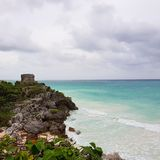 Mexico tulum. Ocean maya ruins view royalty free stock photography
