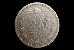 Mexico 1912 Twenty Centavos Silver Coin. A silver coin from the Mexican Revolution of 1910.  Twenty Centavos, dated 1912 Stock Photos