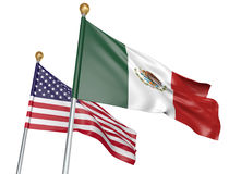 Mexico and United States flags flying together for important diplomatic talks, 3D rendering. National flags from Mexico and the United States flying side by side Stock Images