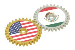 Mexico and United States relations concept, flags on a gears. 3D Royalty Free Stock Photography