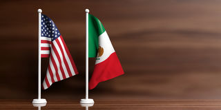 Mexico and USA flags on wooden background. 3d illustration Stock Photo