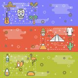 Vector thin line art mexico web banner template set vector illustration