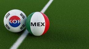 Mexico versus Het Voetbalgelijke van Zuid-Korea - Voetbalballen in Mexicos en Zuidkoreaanse nationale kleuren op een voetbalgebie vector illustratie