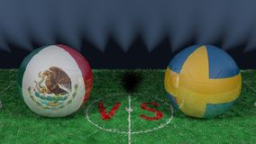 Mexico versus Sweden. 2018 FIFA World Cup.Original 3D image. June 27, Mexico vs Sweden 2018 FIFA World Cup.Original 3D image. Two balloons above a soccer field Royalty Free Stock Photo
