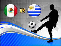 Mexico versus Uruguay on Blue Abstract World Map Background Stock Image