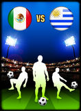 Mexico versus Uruguay on Stadium Event Background Royalty Free Stock Images
