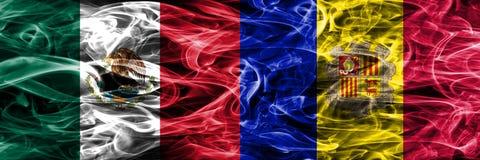Mexico versus zij aan zij geplaatste de rookvlaggen van Andorra Mexicaan en A vector illustratie