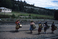 Mexico. View of Mexico Copper Canyon; vendors on tracks Royalty Free Stock Photos