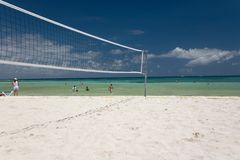 Mexico volleyball on beach net Royalty Free Stock Photo