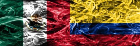 Mexico vs Colombia smoke flags placed side by side. Mexican and. Colombia flag together stock illustration