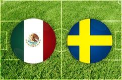 Mexico vs den Sverige fotbollsmatchen royaltyfri illustrationer